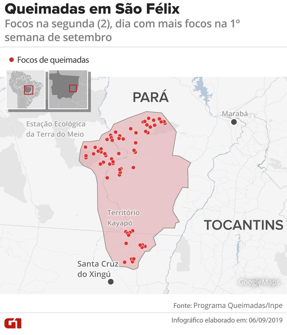 Focos de incêndio registrados na segunda-feira (2), dia com mais registros na primeira semana de setembro em São Félix do Xingu. — Foto: Wagner Magalhães/Arte G1