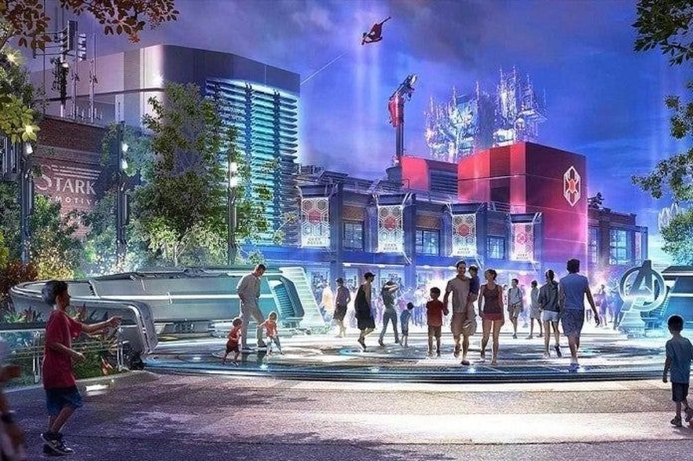 """Nova área destinada aos fãs de super-heróis foi batizada de """"Avengers Campus"""" — Foto: Divulgação Disney"""