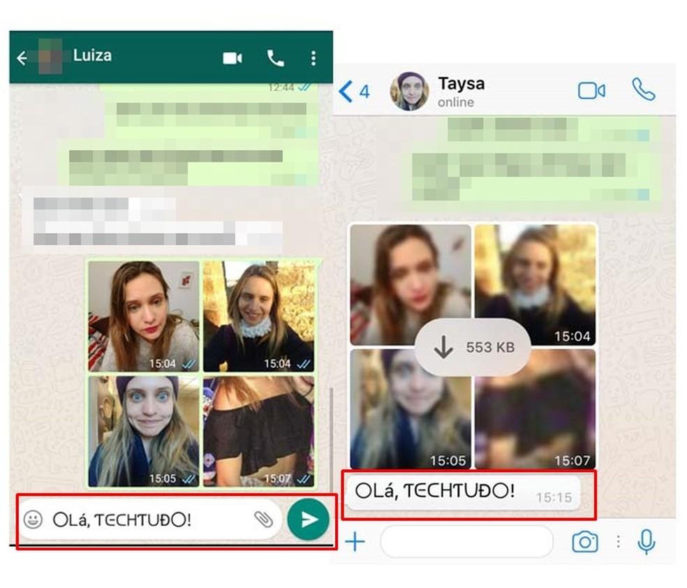 O destinatário também consegue visualizar a letra diferenciada no WhatsApp (Foto: Reprodução/ Taysa Coelho)