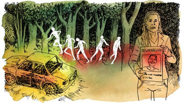 Ilustração do caso dos sem-terra Alysson e Ruan, que foram à júri em outubro de 2017 e resultaram na condenação de quatro pessoas (Foto: VITOR FLYNN/BBC)
