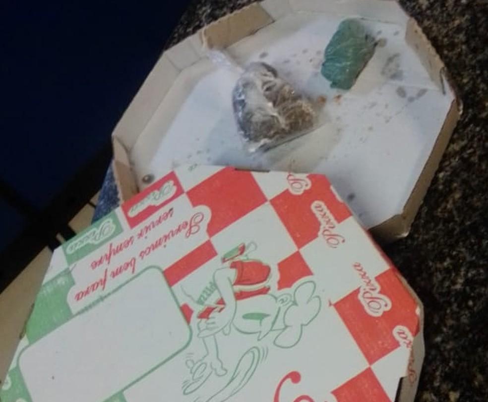 Drogas escondidas por jovem, em caixa de pizza — Foto: Divulgação/PM