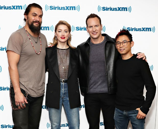 Jason Momoa, Amber Heard, Patrick Wilson e James Wan (Foto: Getty Images)