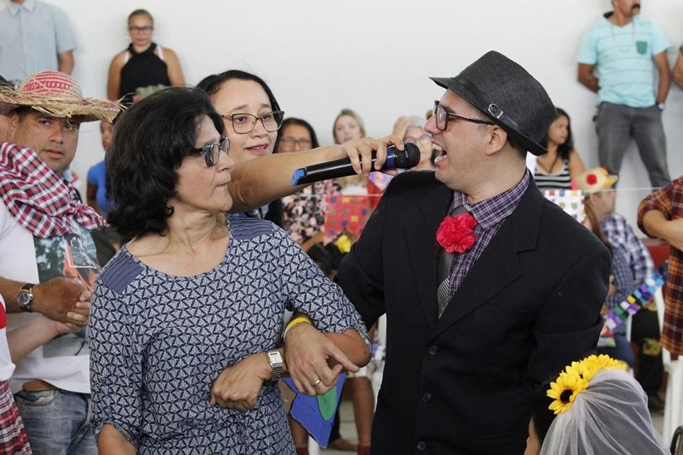 Germana durante festa junina realizada na APAE, em Campina Grande — Foto: APAE/Divulgação