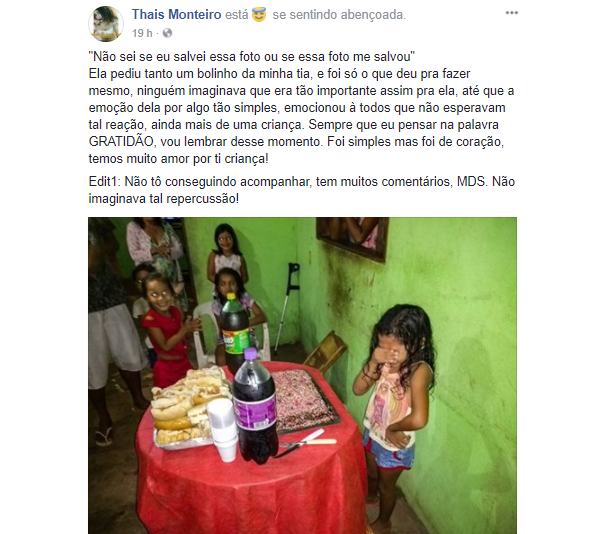 Menina de 7 anos se emociona ao ganhar bolo em seu aniversário (Foto: Facebook/Reprodução)