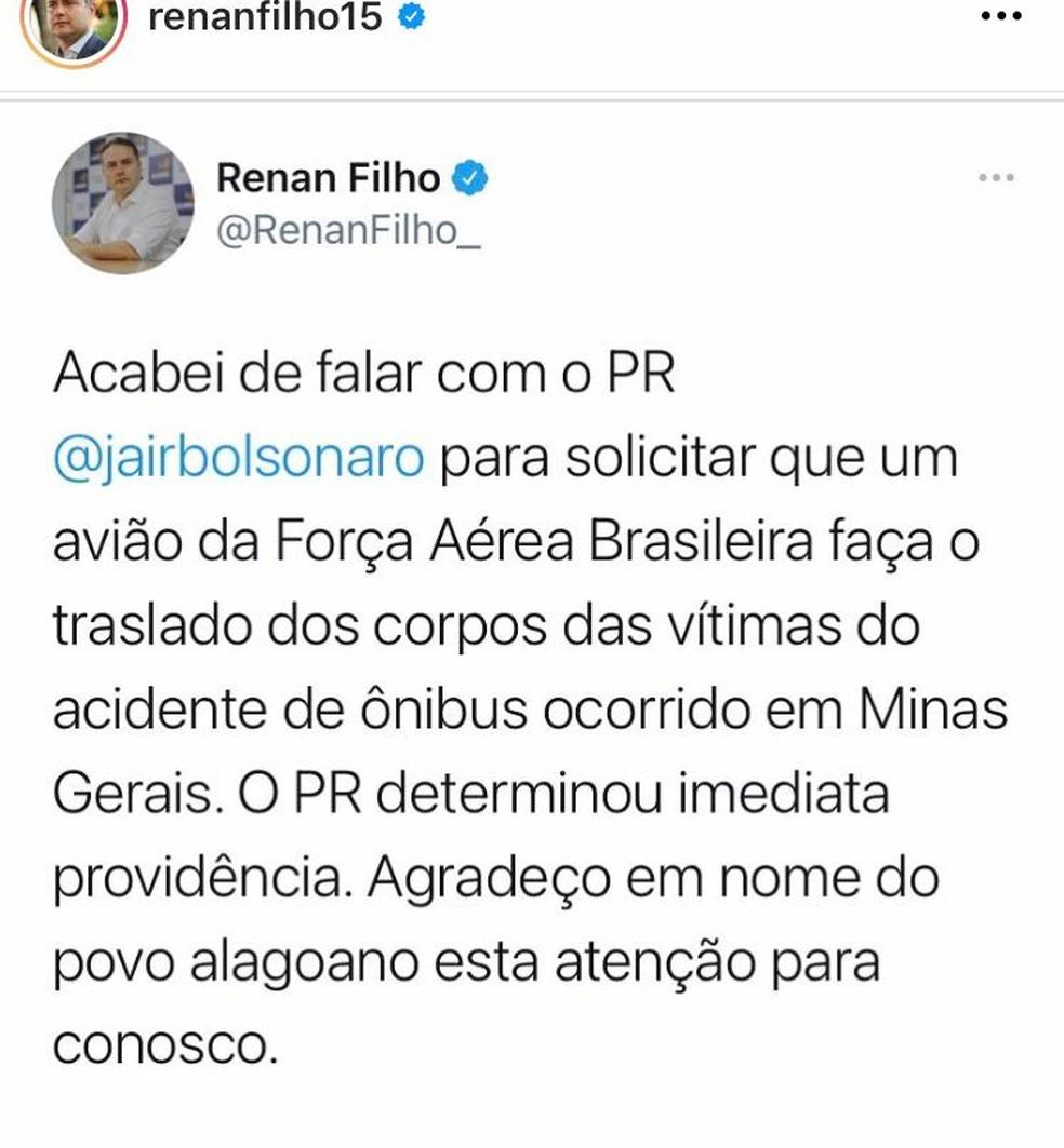 Governandor Renan Filho anuncia que corpos de alagoanos vítimas de acidente em Minas Gerais virão em aeronave da FAB — Foto: Reprodução/Instagram