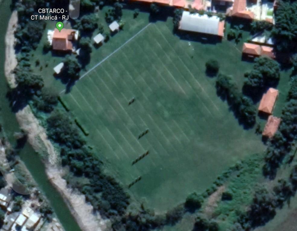 Vista aérea do CT da CBTarco em Maricá — Foto: Google