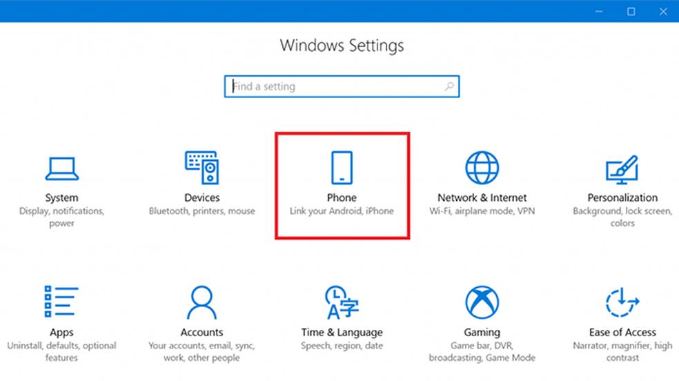 Menu 'Telefone' contém configuração da conexão entre celular e PC (Foto: Divulgação/Microsoft)