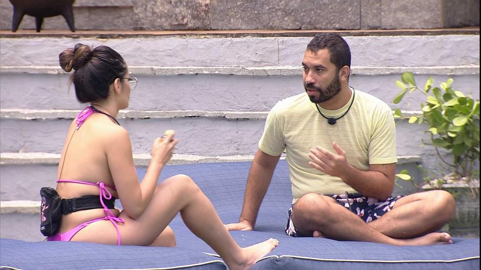 Gilberto conta para Juliette que sonhou com uma possível Eliminação de Arthur ou Nego Di do BBB21 — Foto: Minuto a Minuto - BBB
