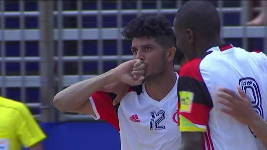 Os gols de Flamengo 6 x 3 Levante pelo Mundialito de clubes de futebol de areia