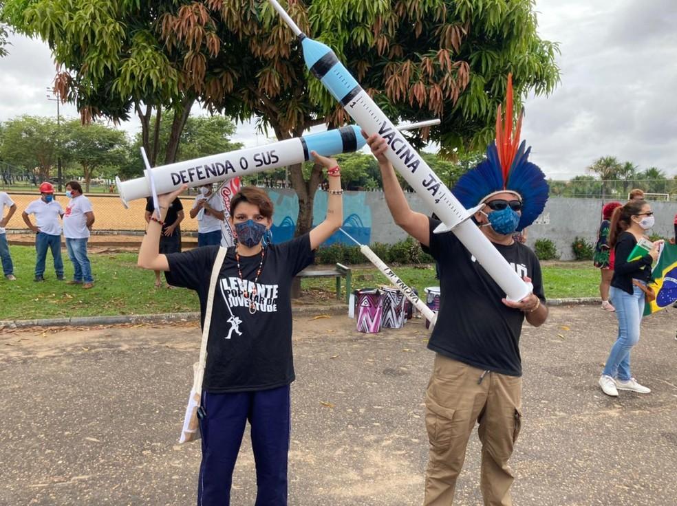 Protesto ocorreu por volta das 10h, em Boa Vista Roraima — Foto: Marcos Cadidé/Rede Amazônica