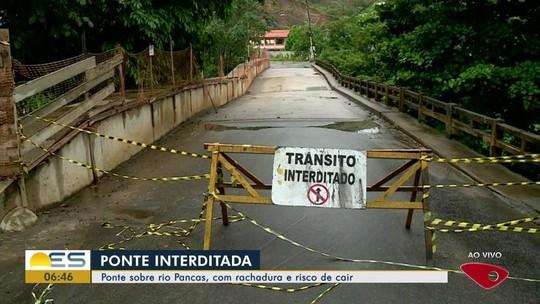 Ponte com grande rachadura é interditada em Colatina, no ES