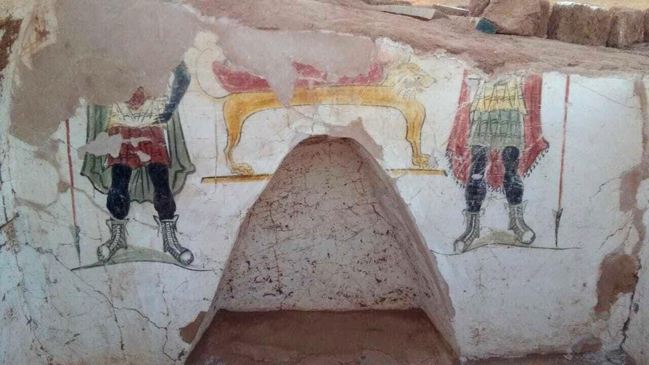 Detalhes das pinturas de uma das tumbas  (Foto: Egyptian Ministry of Antiquities)