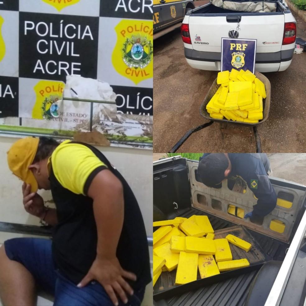 Homem foi preso transportando mais de 50 quilos de cocaína — Foto: Divulgação PRF/AC