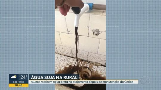 Alunos relatam água escura e com cheiro forte no alojamento da Universidade Rural, em Seropédica