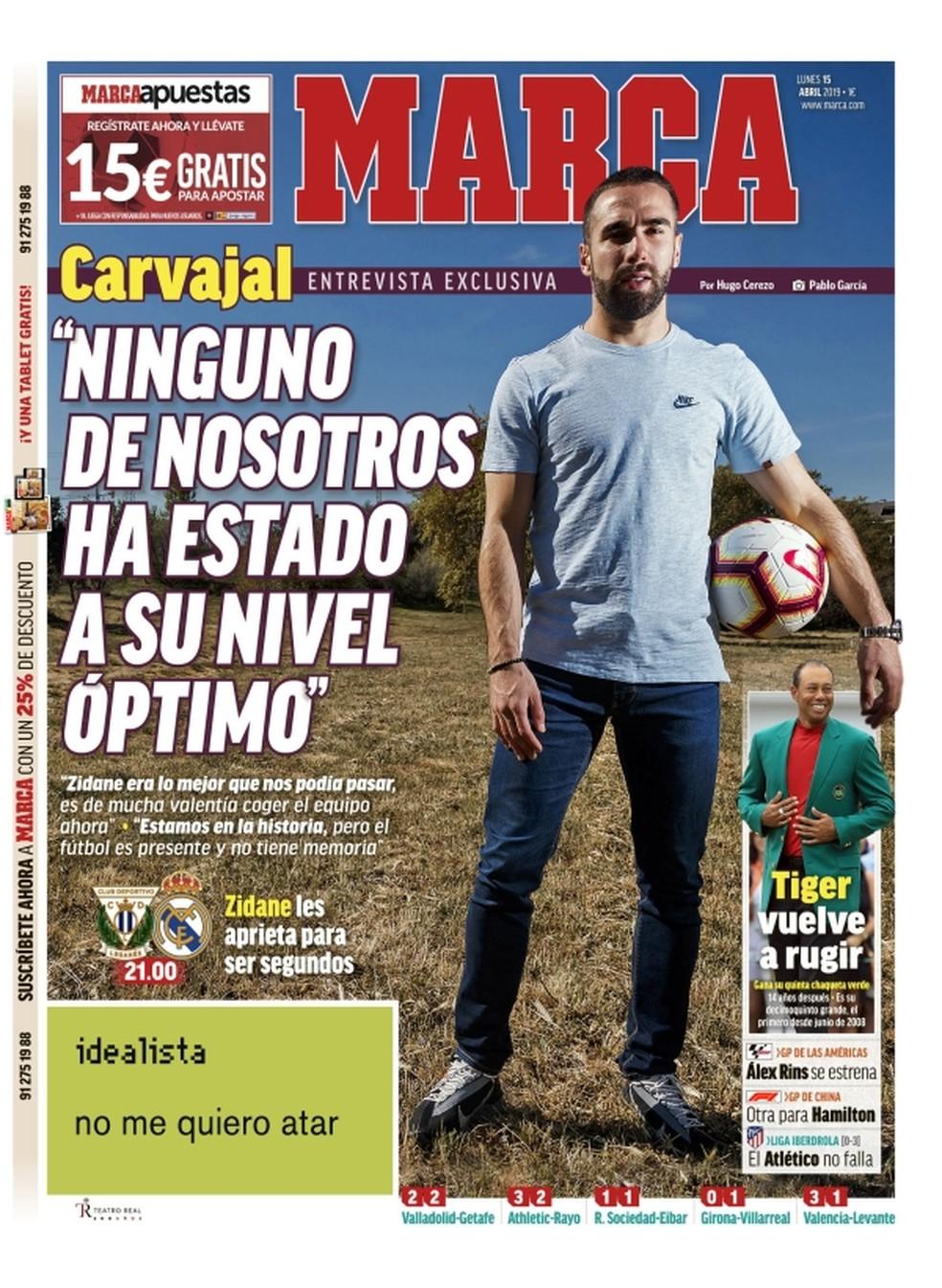 Capa do Marca desta segunda traz entrevista com Carvajal — Foto: Reprodução/Marca