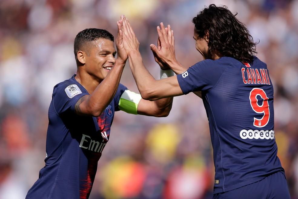 Thiago Silva chegou ao PSG em 2012, e Cavani, um ano depois — Foto: Getty Images