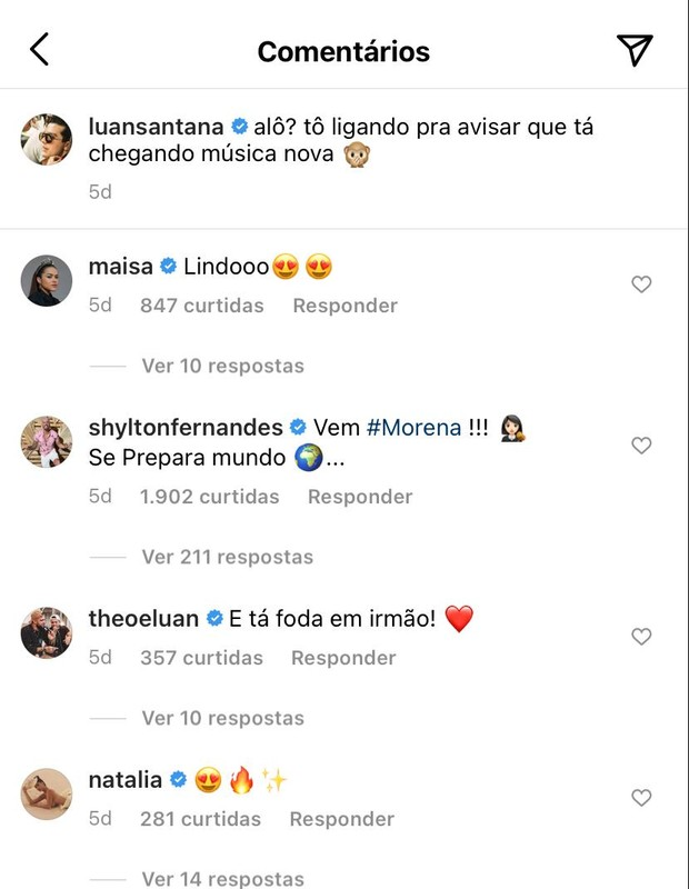 Interação de Luan Santana com Natalia (Foto: Reprodução/Instagram)