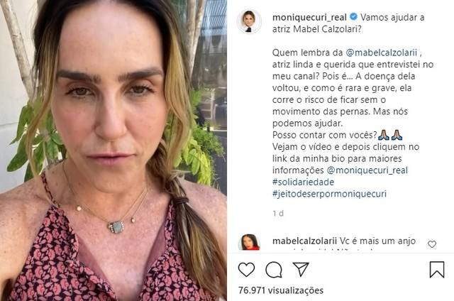 Monique Curi criou vaquinha para ajudar Mabel Calzolari (Foto: Reprodução)