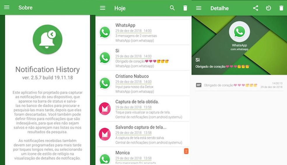 Aplicativo mostra histórico de notificações no WhatsApp — Foto: Reprodução/G1