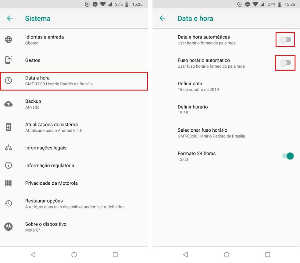 Desativando a configuração de data e hora automática no Android — Foto: Reprodução/Rodrigo Fernandes