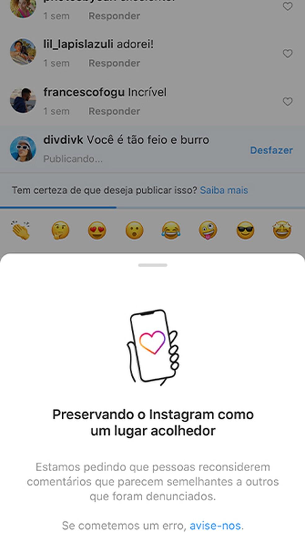 Alerta de comentário é nova ferramenta do Instagram contra bullying online  — Foto: Reprodução/Instagram