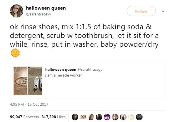Post ensina a limpar o tênis branco (Foto: Twitter/Reprodução)