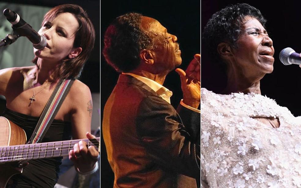Dolores O'Riordan, Edwin Hawkins e Aretha Franklin — Foto: Bruno Bebert/AP Photo; Divulgação; Dimitrios Kambouris/Getty Images via AFP