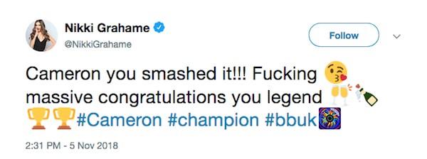 O tuíte no qual a apresentadora de TV Nikki Grahame revelou antes da hora o vencedor do Big Brother britânico (Foto: Twitter)