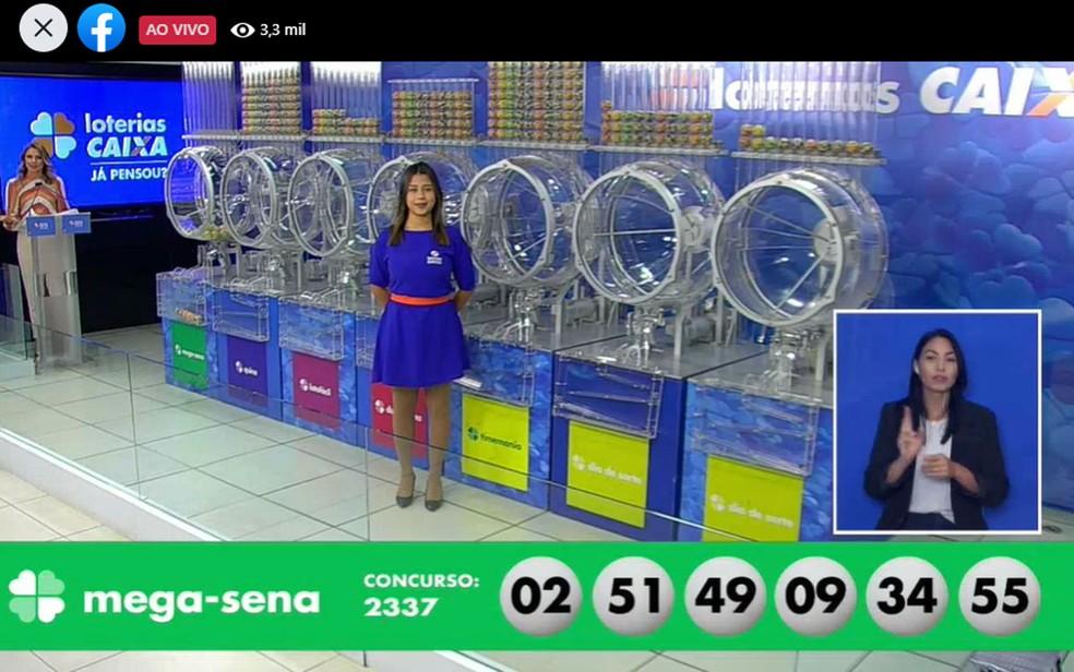 Dezenas sorteadas no concurso 2.337 da Mega Sena, no sábado (23) — Foto: Reprodução/Facebook/CEF