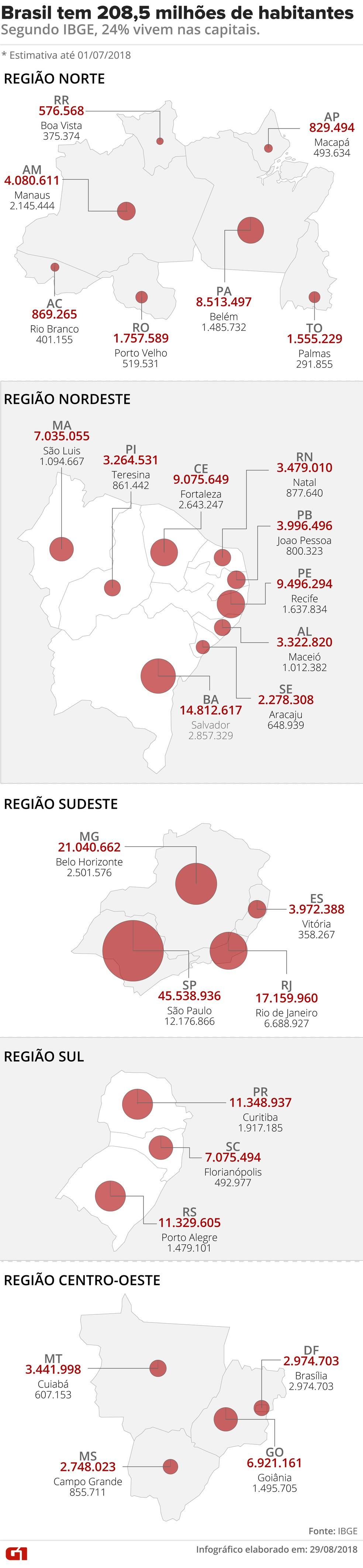 Arte mostra a divisão da população brasileira entre os estados e suas respectivas capitais. (Foto: Cláudia Peixoto/G1)