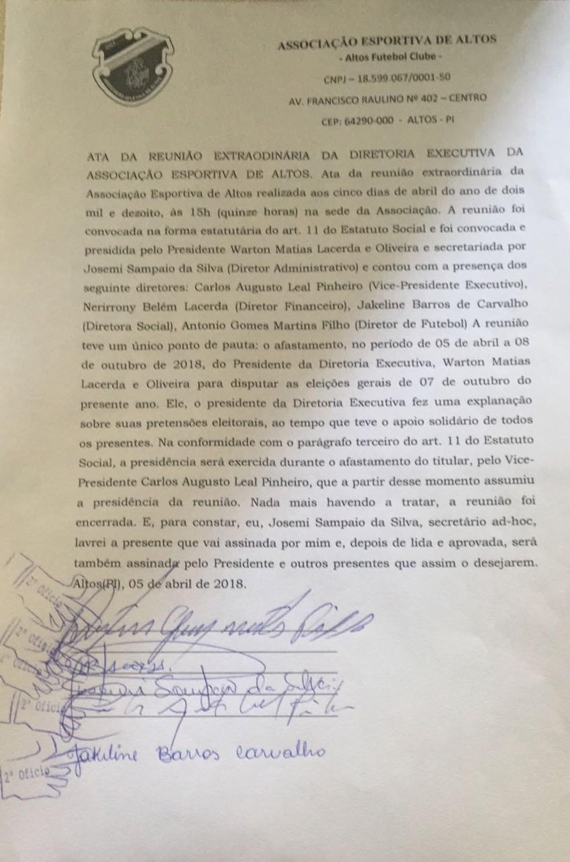 Ata da reunião que determinou o licenciamento de Warton Lacerda (Foto: Reprodução)