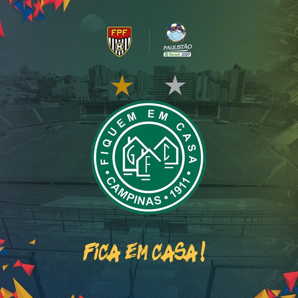Guarani adapta escudo em campanha contra o novo coronavírus — Foto: Reprodução Twitter