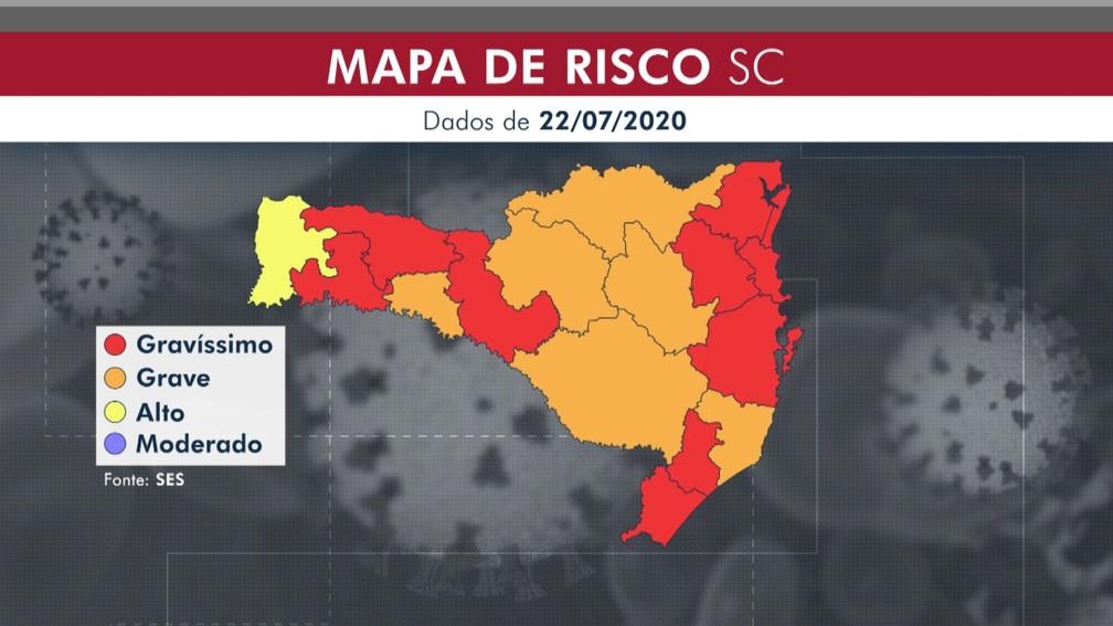 Nove regiões de SC estão em situação gravíssima por causa da Covid-19 — Foto: Arte NSC TV