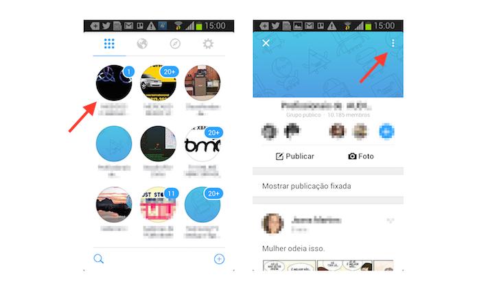 Acessando as configurações de um grupo através do Facebook Groups para Android (Foto: Reprodução/Marvin Costa)
