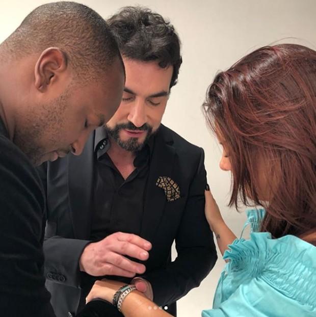 Padre Fábio de Melo com Fernanda Souza e Thiaguinho (Foto: Reprodução/Instagram)