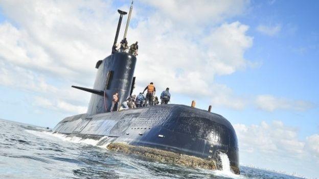 O ARA San Juan viajava com 44 tripulantes, quando perdeu comunicação e desapareceu dos radares (Foto: EPA/BBC)