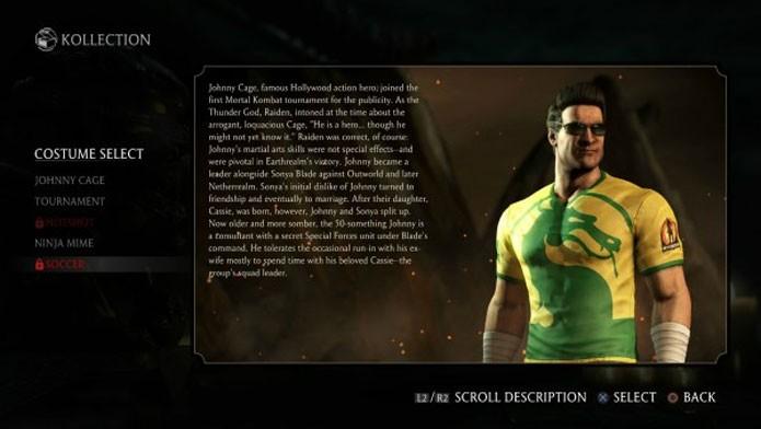Johnny Cage também aparece com roupas verde e amarela (Foto: Reprodução/Mp1st)