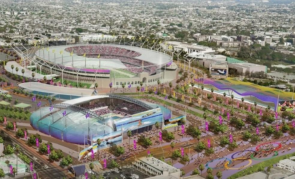 Projeto olímpico de Los Angeles 2024, que agora irá migrar para 2028 (Foto: Reproduçao)