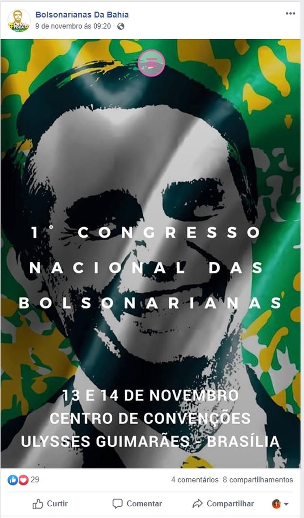 Anúncio no Facebook para o 1º Congresso Nacional das Bolsonarianas — Foto: Reprodução/Facebook