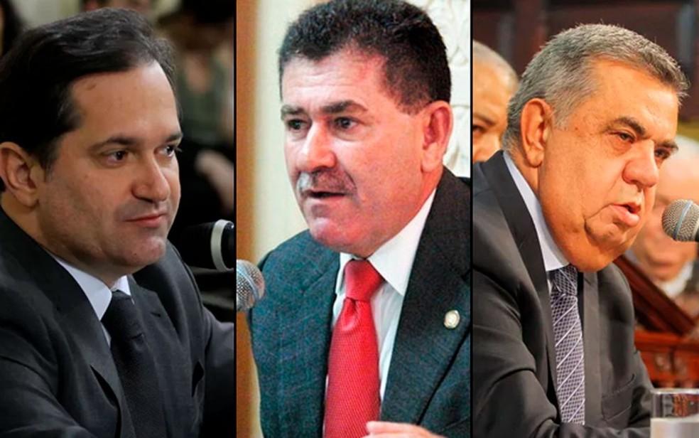 Edson Albertassi, Paulo Melo e Jorge Picciani, que estão presos há 1 ano e continuam a receber salário — Foto: Reprodução / TV Globo