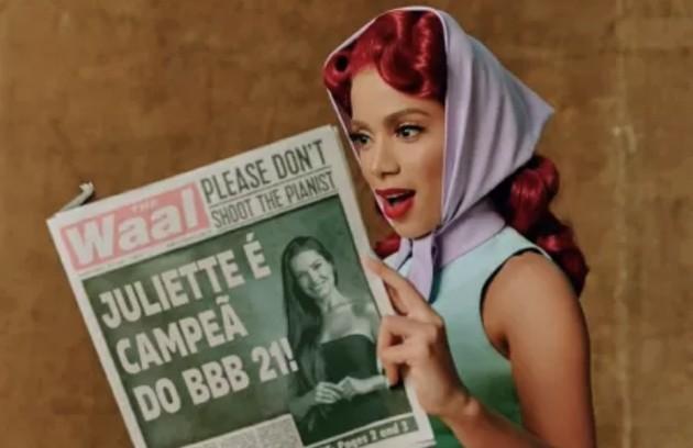 Anitta postou uma montagem lendo um jornal informando que Juliette venceu o programa (Foto: Reprodução)