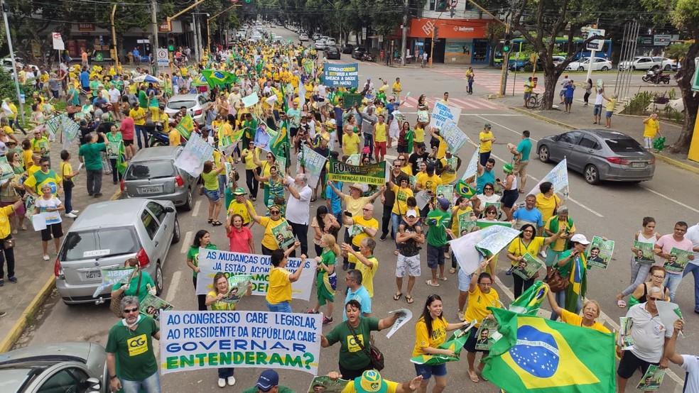 Protesto pró-governo em Governador Valadares - 15/03 — Foto: Sérgio Barros/Arquivo pessoal