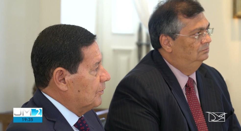 Hamilton Mourão e Flávio Dino em encontro no Palácio dos Leões, em São Luís — Foto: Reprodução/TV Mirante