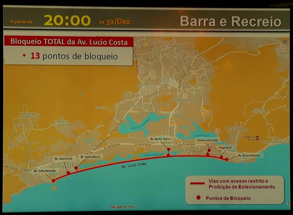 Barra e Recreio terão 13 pontos de bloqueio na orla para o réveillon — Foto: Reprodução