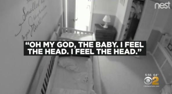 Gritos da mãe foram registrados pela babá eletrônica no quarto ao lado (Foto: Reprodução CBS New York)