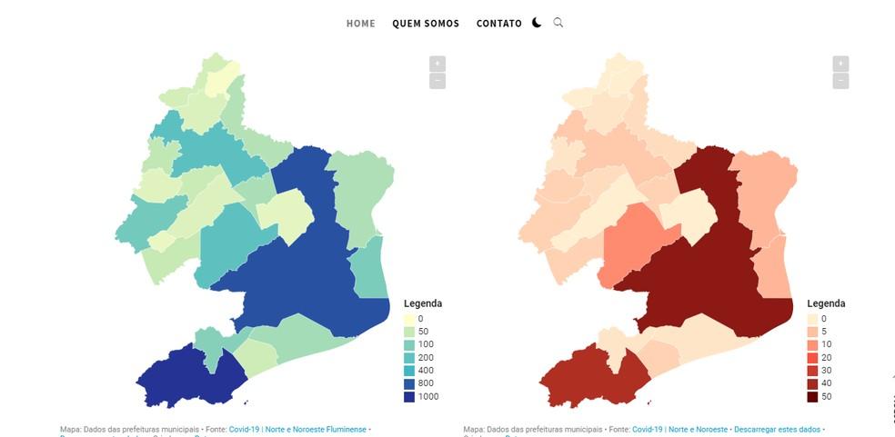 Plataforma online reúne dados sobre a Covid-19 nas 22 cidades do Norte e Noroeste Fluminense — Foto: Reprodução/Painel Covid-19 Norte Noroeste Fluminense
