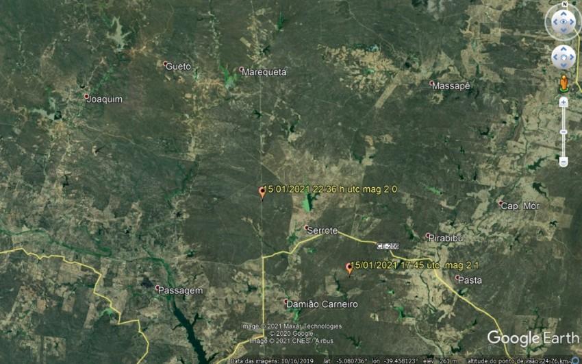 Sete tremores de terra são registrados em Quixeramobim, no Ceará