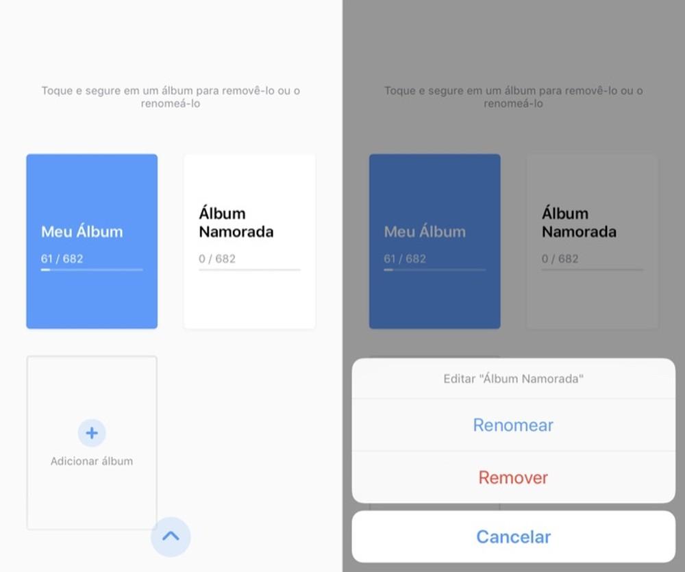 📷 Tela para escolher o álbum ou adicionar mais | Reprodução