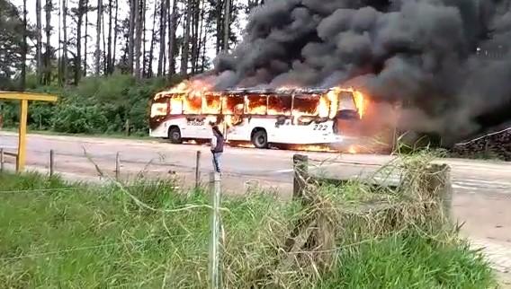 Dupla ordena que passageiros desçam de ônibus e incendeia veículo em Guaíba - Notícias - Plantão Diário