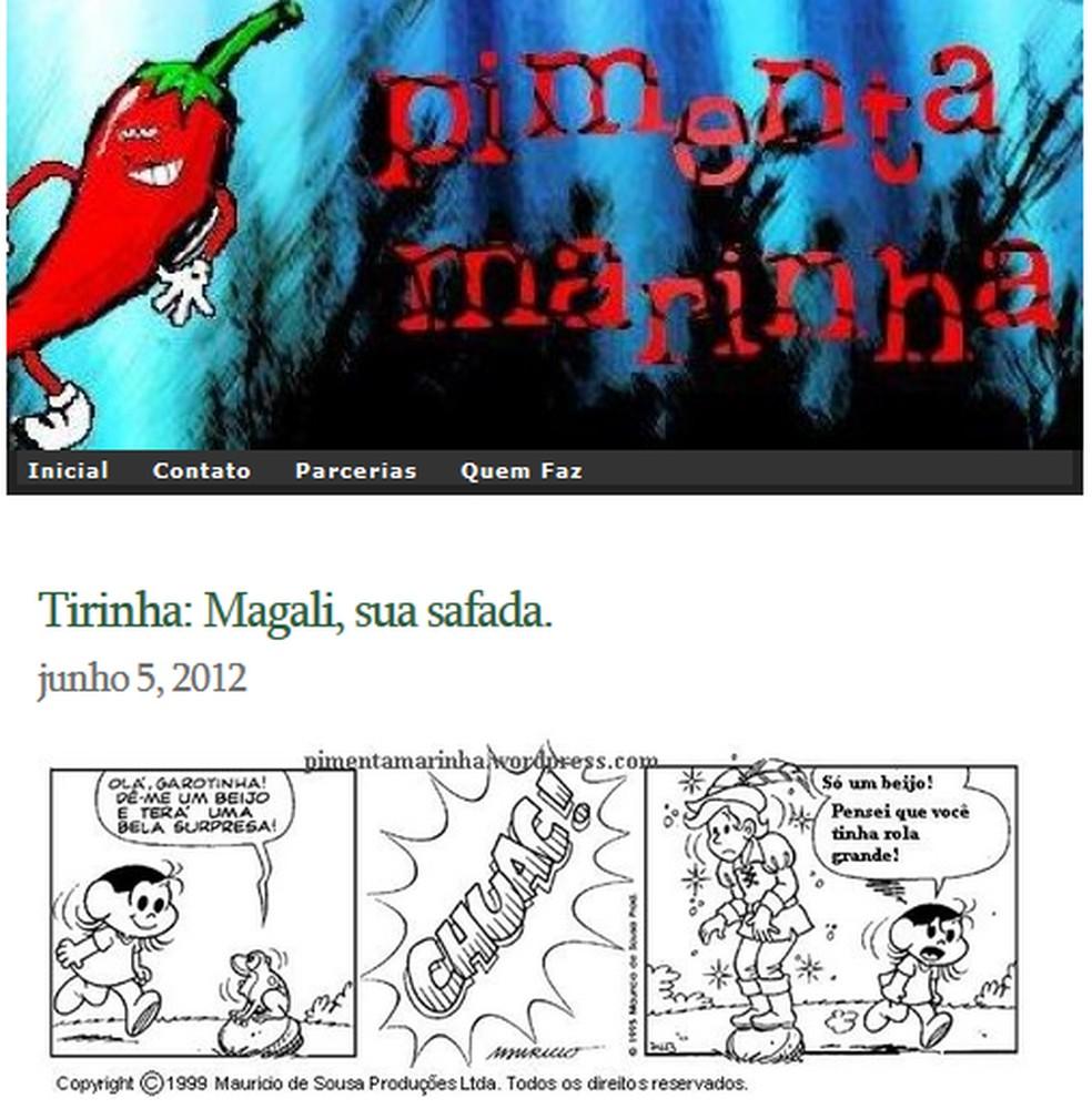 Tirinha foi postada por página de internet em 2012  — Foto: Reprodução/Internet